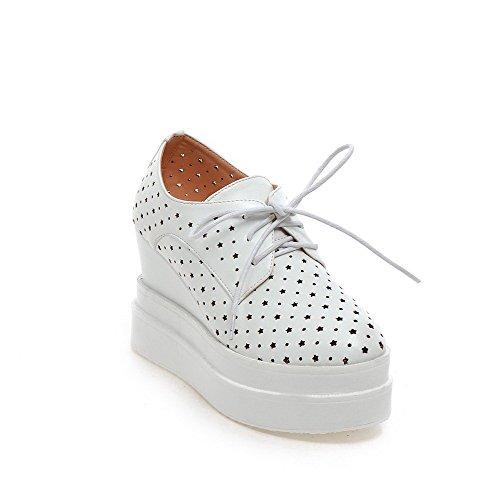 Allhqfashion Mujer PU Material Suave Cordón Tacón Alto Puntera Redonda ZapatosdeTacón Blanco