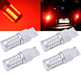 TUINCYN 7443 7444NA Red 5630 33SMD LED Bulbs 900 Lumens Bright Brake Stop Parking Light Turn Signals Bulb Side Markers Lamp DC 12V 3.6W (Pack of 4)