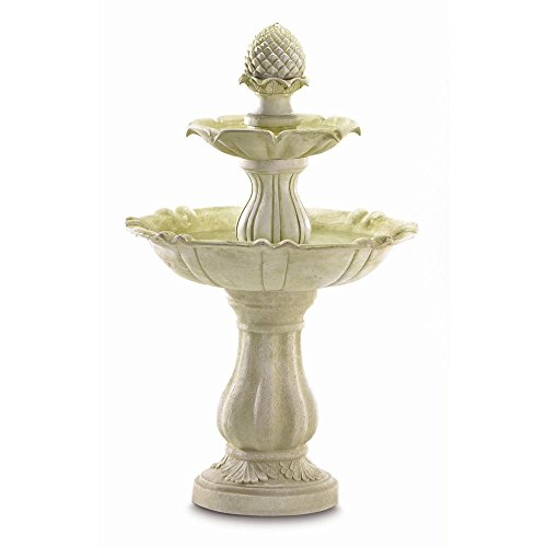 "GHP 23"" x 23"" x 38"" Ivory Alabastrite Three-Tier Acorn Outdoor Water Fountain"