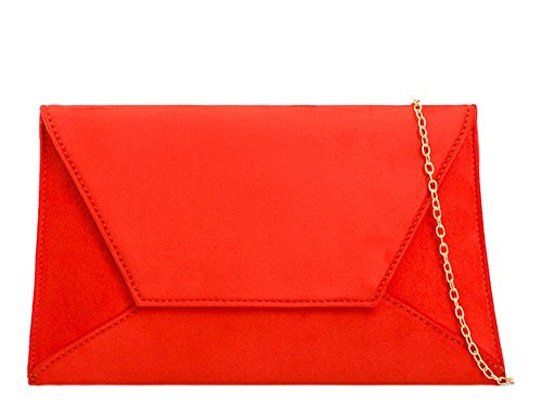 Suede Curved Clutch Women'S Faux New Strap Bag Party Envelope Scarlet Chain 58qqwtnB