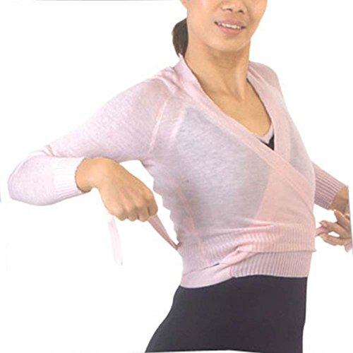 Sansha Womens Pink Wrap Tie Long Sleeved Daisy Ballerina Sweater XL - Sansha Dancewear