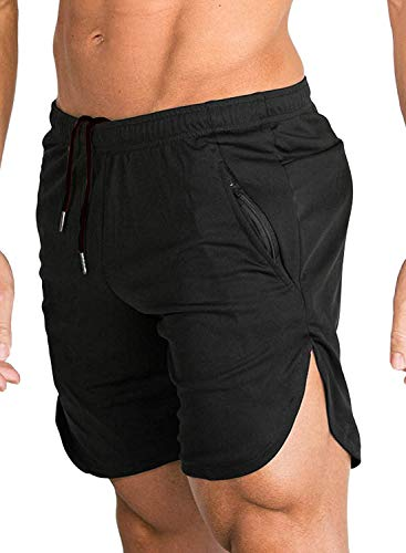 FLYFIREFLY Men's Gym Fitness Shorts Running Short Pants Fitted Training Bodybuilding Jogger with Zipper Pockets