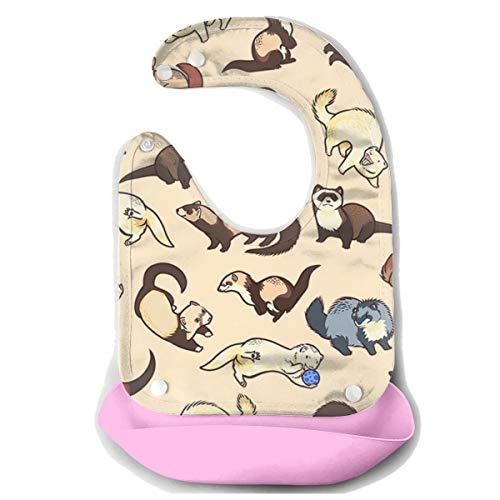 ROCKSKY Comfortable Soft Baby Bibs - Hairy Ferret Baby Bandana Bibs Waterproof Drooling & Teething Bib Baby Feeding Accessorry for Boys & Girls Infant Baby Bibs]()