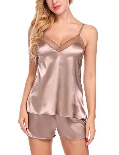 BEAUSOM Women's Lace Pajamas Shorts Set Nightwear Camisole Short Sets (Coffee, Large)
