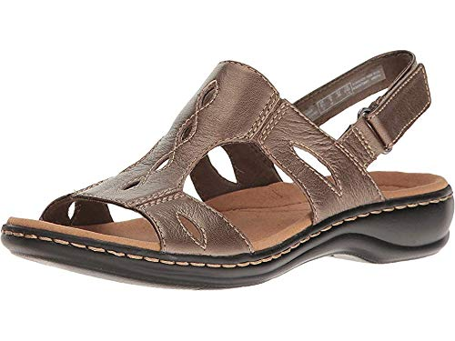 - CLARKS Women's Leisa Lakelyn Cutout Slingback,Pewter Metallic Leather,US 8.5 W