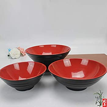 Soup Bowls Set of 2 - Large Red and Black Melamine 8.5 Inches, Japanese Ramen Noodles, Vietnamese Pho Recipe, Menudo Snacks, Popcorn Serving Dishes, Fruit, ...