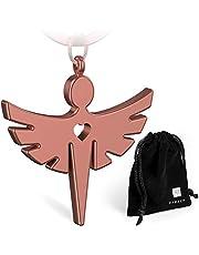 FABACH Schutzengel Schlüsselanhänger mit Herz - Edler Engel Anhänger aus Metall in Silber, Gold, Roségold, Schwarz - Glücksbringer Geschenk für Auto, Führerschein - Fahr vorsichtig