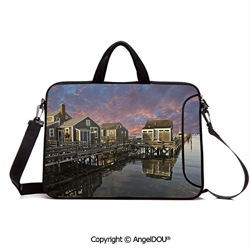 AngelDOU Customized Neoprene Printed Laptop Bag Notebook Handbag Sunset Over Nantucket Massachusetts Dramatic Sky Clouds Pond Houses Compatible with mac air mi pro/Lenovo/asus/acer Coral Blue Sep