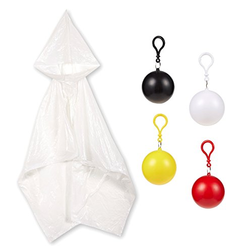 4 Pack Kids Disposable Ponchos with Ball - Disposable Raincoats for Boys and Girls - Childs Poncho, - Kid Poncho Girls