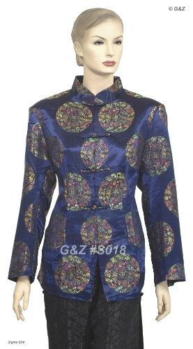 Traditional Chinese Silk Brocade Jacket (Blue Circle Dragon Pattern), Size M