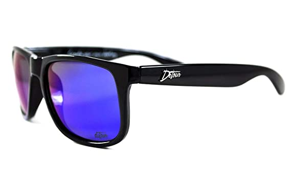 0f997eecf28 Detour Sunglasses Eminence Clean Black Frame with Blue Lens UV400 Polarized  Sunglasses w Pouch for