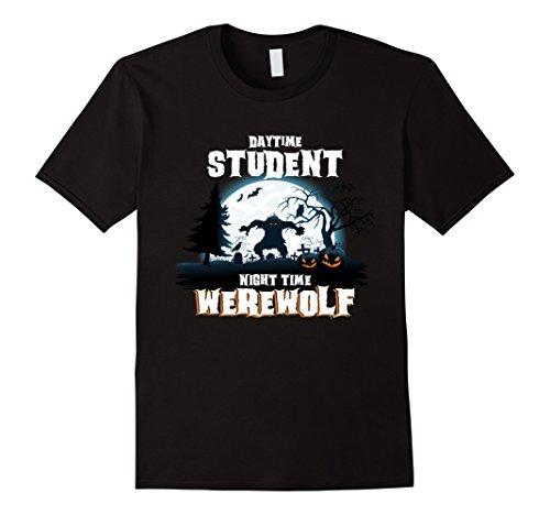 Jack Black School Of Rock Costume (Mens Student Werewolf At Night Halloween Costume T-Shirt Medium Black)