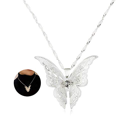 YOOE Hollow Silver Multi Layer 3D Flying Butterfly Necklace, Elegant White Butterfly Rhinestone Wings Pendant Necklace (Style ()