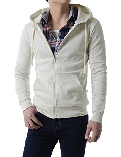 TheLees (MZJ10) Basic Fashion Ultimate Full Zip Active Jersey Hoodies Jacket OATMEAL US S(Tag size L) by TheLees