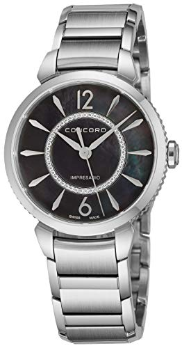 - Concord Impresario Womens Stainless Steel Diamond Swiss Quartz Watch - 32mm Black Mother of Pearl Dial and Sapphire Crystal - Swiss Made Classic Analog Ladies Dress Watch 0320335