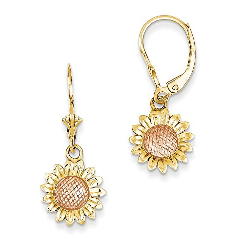 14k Two-tone Polished Sunflower Dangle Leverback Earrings by CoutureJewelers