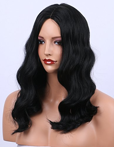 K'ryssma Synthetic Wigs Shoulder Length Wavy #1B Natural Black Wig for Women Middle Part -