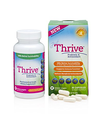 Just Thrive High Potency Probiotic & Antioxidant Supplement, 30 Capsules :: 4 Strains: Bacillus Indicus, Coagulans, Clausii, & Subtilis :: Digestive & Immune Support :: Vegan :: GMO & Gluten Free
