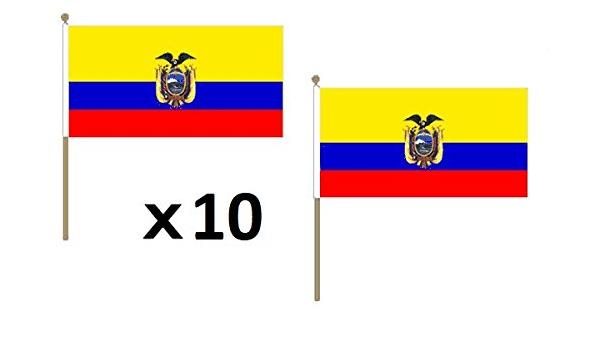 AZ FLAG Bandera de Ecuador 45x30cm con Palo de Madera - Lote de 10 Bandera ECUATORIANA 30 x 45 cm: Amazon.es: Jardín