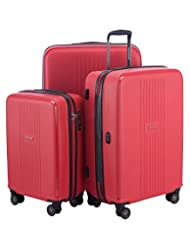HAUPTSTADTKOFFER - F-Hain - Set of 3 Hard-side Luggages matt Suitcase Hardside Spinner Trolley Expandable (20¡°, 24¡° & 28¡°) TSA, Red