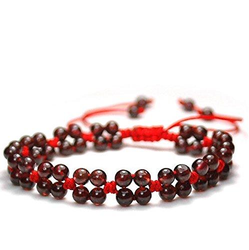 Red Rope Line Bracelet with Red Garnet Beads Hand Chain Handmade Braided String Rotating Bracelet