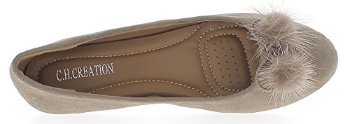 Ballerines confortables taupe aspect daim
