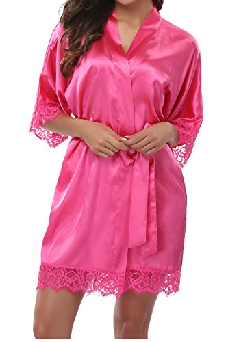 Exotic Robes (Old-Times Women's Kimono Robes Short Bridesmaids Bathrobe with Lace Trim)