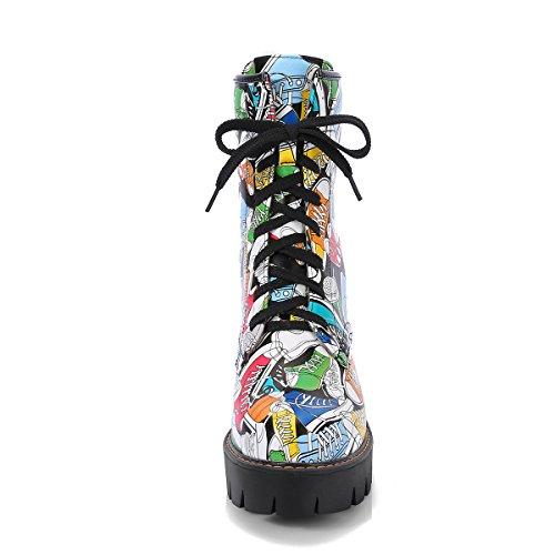 YE Damen Blockabsatz Ankle Boots Plateau Stiefeletten mit
