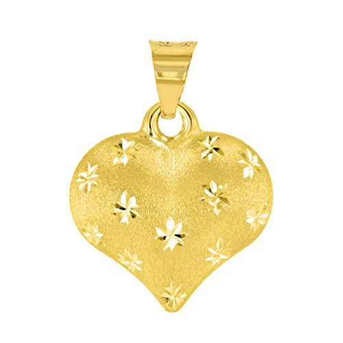 Polished 14K Yellow Gold Satin Heart with Star Texture Charm Pendant ()