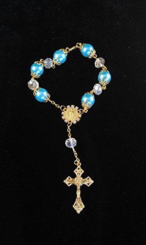 Aqua & Golden Girl/Boy Hand Bracelet,Mini Rosary Rhinestone Memories Gift For Baptism/First Communion Festivities 12 party pack
