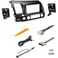 ASC Premium Gray Car Stereo Radio Dash Install Kit, Wire Harness, and Antenna Adapter to Install an Aftermarket Radio for 2006 2007 2008 2009 2010 2011 Honda Civic - No Factory Nav