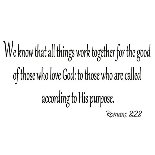 VWAQ We Know that All Things Work Together for the Good of Those Who Love God Decal Romans 8:28 Decals Bible Wall Quotes Faith Home Decor Stickers]()