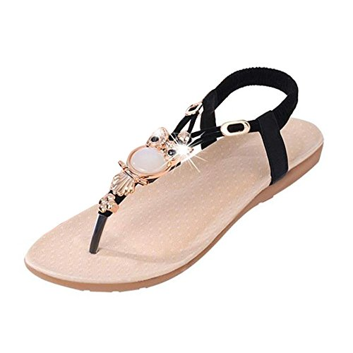 Sandals For Women,Hot sale!!Duseedik Women Rhinestone Owl Sweet Sandals Clip Toe Sandals Beach Shoes Roman Sandals Ladies Flip Flops (Black, US:8(CN:39))