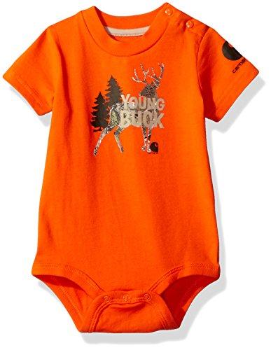 Carhartt Boys' Baby Short Sleeve Bodyshirt, Blaze Orange Young Buck, 3M