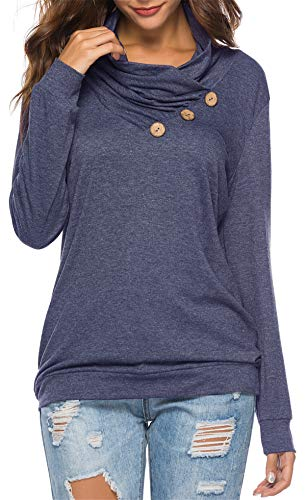 (onlypuff Navy Blue Shirt Women Blouse Cowl Neck Tunics Comfy Solid Tops with Button M)