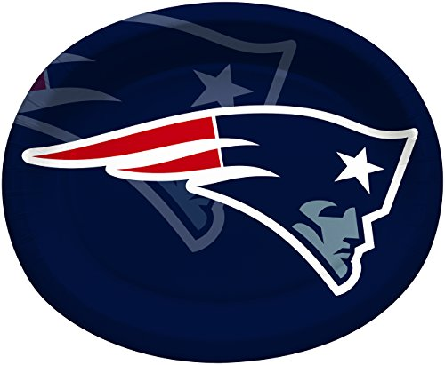 Creative Converting Officially Licensed NFL Oval Paper Platters, 8-Count, New England Patriots -