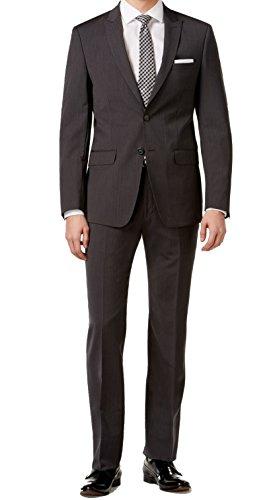 Calvin Klein Extra Slim Fit Charcoal Pinstripe Wool 2 Piece Men's Suit MAIL2 5FY (44 Short US Jacket/37 Waist (Charcoal Pinstripe Wool Suit)