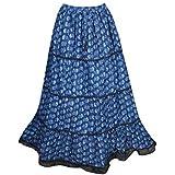 Mogul Interior Women's Gypsy Midi Skirt Blue Cotton Printed Tiered Skirts S/M/L