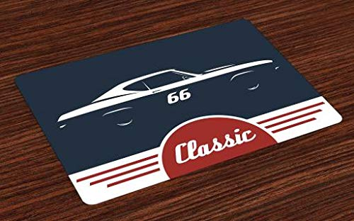 - Lunarable Man Cave Place Mats Set of 4, Classic Vintage Sports Car Muscle Vehicle Silhouette Old Fashioned Style, Washable Fabric Placemats for Dining Room Kitchen Table Decor, Night Blue Red White