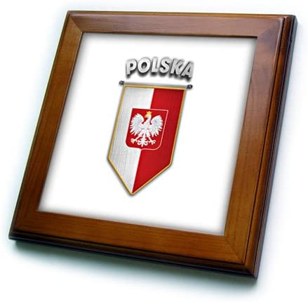 3D Rose Pennant with Flag of Poland Polish Banner Coat of Arms Framed Tile 8 x 8