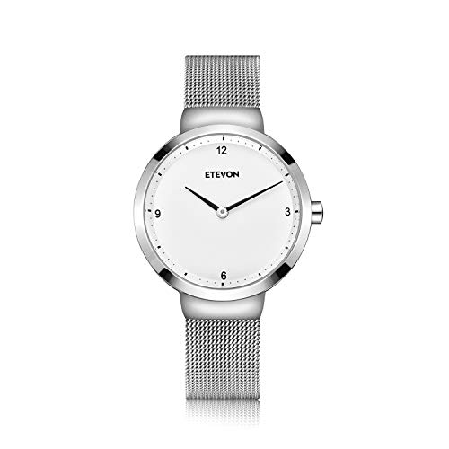 ETEVON Women's Quartz Analog Watch with Stainless Steel Band and Ultra-Thin Mesh Bracelet Waterproof, Simple Dress Wrist Watches for Women - Silver ()