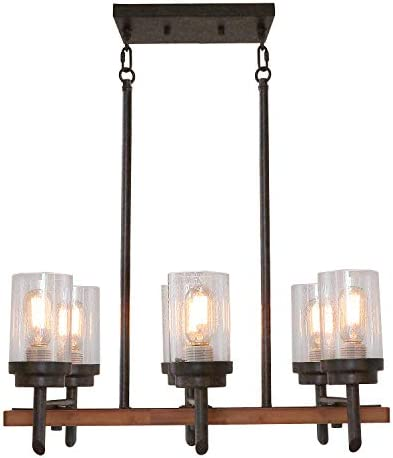 Eumyviv 17802 6-Lights Metal Wood Pendant Lamp with Glass Shade, Retro Rustic Chandelier Edison Vintage Decorative Ceiling Light Fixtures Hanging Light Luminaire