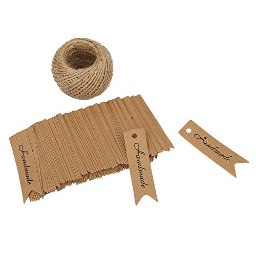 Shintop Handmade Tags – 100PCS Kraft Paper Gift Tags Handmade Label Craft Hang Tags with Free 100 Feet Natural Jute Twine (Brown)