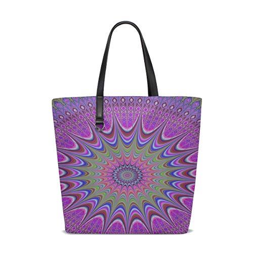 Peak Large Clip Flower (Women Art Mandala Design Ornament Flower Decoration Handle Satchel Handbags Shoulder Bag Tote Purse Messenger Bags)