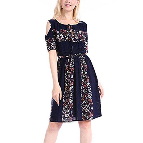 , ღ ღ ! Print Plus Size Folk-Custom O-Neck Strapless Bandage Mini Dress Blouse Tops (XXL, Navy) ()