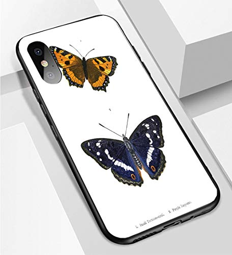 iPhone X/XS Ultra-Thin Phone case British Butterfly Illustrations Hand Coloured Engraving Anti-Drop Anti-Slip Soft Convenient Protective ()