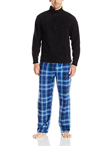 Intimo Men's Long Sleeve Solid Quarter Zip Microfleece Top and Microfleece Plaid Pant, Blue, Size (Mens Microfleece Long Sleeve)