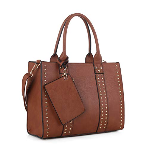 Jessie & James | Concealed Carry Top Handle Handbag | Faux Leather Locking Firearm Purse | Crossbody with Stud Accent | Tan