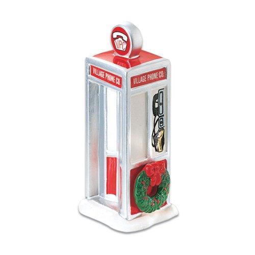 Department 56 Village Handpainted Ceramic Phone Booth Accessory Figurine