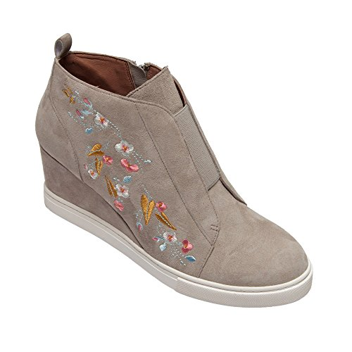 63b20a0a8af6 Linea Paolo (New Fall) Felicia Women s Sneakers - Comfortable Padded Sneaker  Wedge Grey Suede Embroidery 6.5M - Buy Online in Oman.